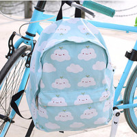 Cartoon student cloud printed backpack