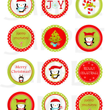 Christmas stickers. Christmas cupcake toppers. Christmas tags, stickers, labels, envelope seals. 2'' circles. Digital file.