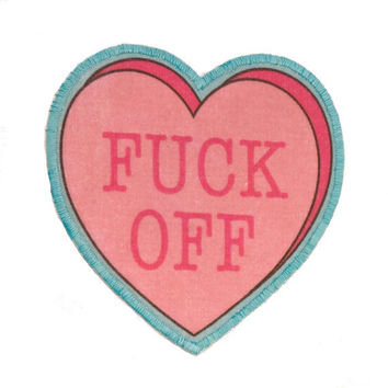 "F""""k Off  Insultation Heart Iron On Patch"