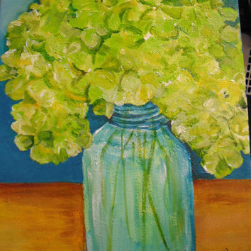 Lime Green Hydrangeas Painting   12 x 16 by SharonFosterArt