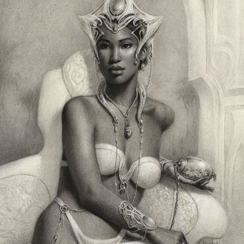 "Charcoal drawing ""Princess Analiea"" , One of a Kind, Original art, Fantasy art"