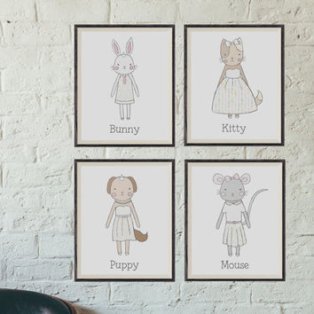 Animal Nursery Art Prints, Set of 4, 8x10 Inch, Nursery Decor, Kitty Art, Bunny Art, Mouse Art, Puppy Art, Paper Doll Nursery Art, Animals