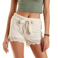 Ivory Sash-Belted Scalloped Lace Shorts by Charlotte Russe