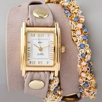 La Mer Collections Plum Crystal Chain Wrap Watch
