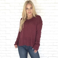 On An Adventure Wine Knit Sweater