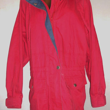 Vintage 80s Towne by London Fog Red and Navy Womens Jacket Size Medium