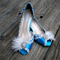 Blue Wedding Shoes low heel -- Lace and Feather Wedding shoes -- Pick your color