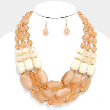 Gold & Ivory Color Block Triple Strand Pebble Necklace