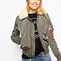 Alpha Industries Injector Bomber Jacket With Shearling Collar