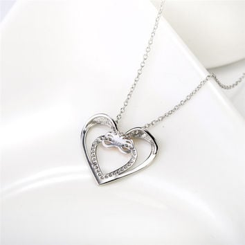 Silver Infinity Love Heart Necklace
