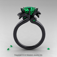 Art Masters 14K Black Gold 3.0 Ct Chatham Emerald Dragon Engagement Ring R601-14KBGCEM