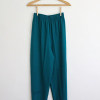 Vintage 80s Teal Silk Diane Von Furstenberg Trousers // Women's XS Dress Pants