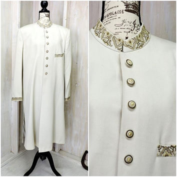 Vintage long evening coat /  silk opera coat / off white / ivory long formal coat / size L 14 / 16