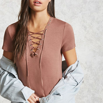 Lace-Up Grommet Tee