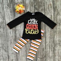 baby girls Halloween party clothing girls candy corn cutie outfits girls long sleeve with stripes pant with hairbows