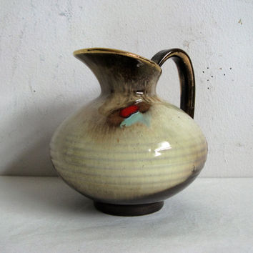 Vintage 1970s Decorative Vase West German Beige Red Aqua Ceramic Pottery Jug