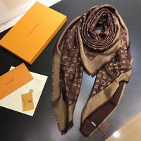 LV Women Smooth Cashmere Warm Winter Cape Scarf Scarves I
