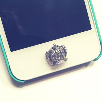 Adorable Small Crystal Button Sticker for iPhone Home Button Rhinestone Sparkle Phone Accessory Pretty Girly Charm FREE SHIPPING