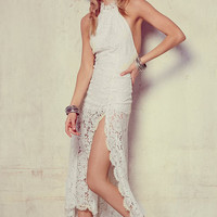 White Lace Halter Neckline Backless Asymmetric Maxi Dress with Slit