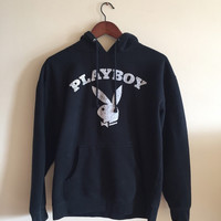 Vintage Style Playboy Sweater Hoodie with a faded cracked bunny logo.