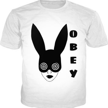 Black and white, OBEY, follow the white (or black rabbit)? classic fit white t-shirt design