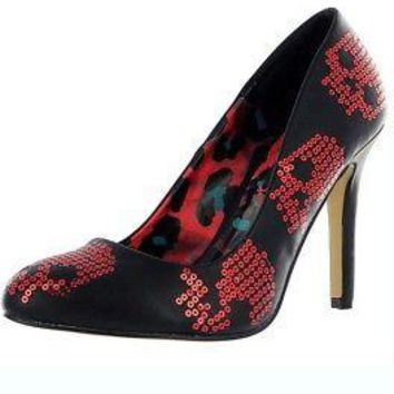 Iron Fist Sugar Hiccup Digiskull Women's Black Sequin High Heel Shoes - US Size