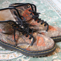 90s Rare One-of-a-kind Vintage Original World Map Doc Martens • doc marten boots UK 4/US 5.5/ EU 36 Canvas 90s grunge boots dr marten doc