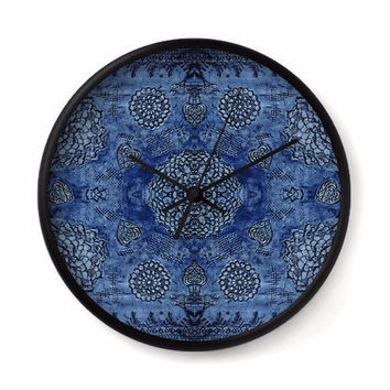 Bohemian Wall Clock with royal blue floral lace pattern