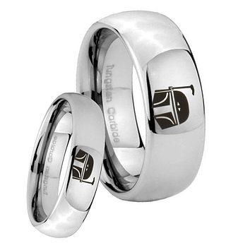 His Her Classic Mirror Dome Star Wars Boba Fett Sci Fi Science Tungsten Silver Rings Set