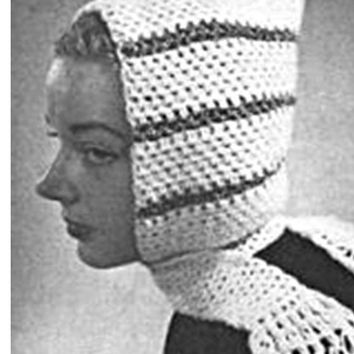 Crochet HAT Pattern Vintage 70s Crochet Hooded Pixie Hat Pattern Crochet Scarf Pattern Pixie Hood Crocheted Hat Pattern