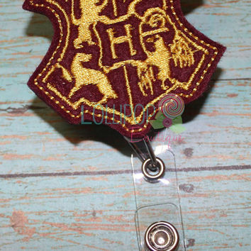 Wizard Crest Badge Reel, Felt Badge Reel, ID Badge Holder, ID Holder, Nurse Badge Holder, Badge Reel, Retractable ID Badge, Work id Badge