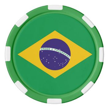 Poker chips with Flag of Brazil