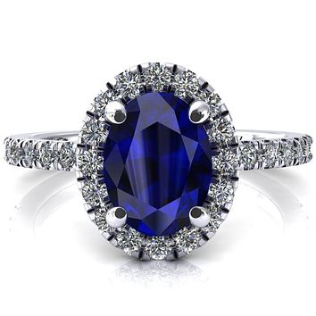 Talia Oval Blue Sapphire 4 Prong Halo 3/4 Micropave Engagement Ring