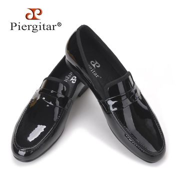 Classic Designed Black Patent Leather handmade Shoes Men Party and Wedding Loafers Men Flats Size US 4-17 Free shipping