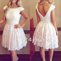 White A-line Round Neck Lace Short Prom Dresses, Homecoming Dresses