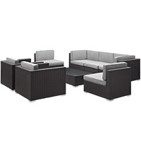 Convene 8 Piece Outdoor Patio Sectional Set in Espresso Gray