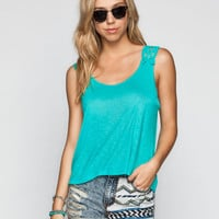 E&M Crochet Trim Womens Tank Jade  In Sizes