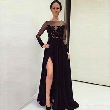 saida de praia 2016 New Elegant A line Bateau Sexy Backless Cheap Black Evening Party vestido de festa Long Sleeve Prom Dresses