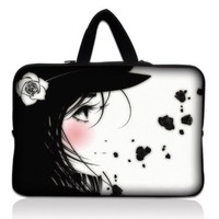 "Laptop Skin Shop 15.6 inch Laptop Sleeve Bag Carrying Case Pouch with Hidden Handle for 14"" 15"" 15.4"" 15.6"" Apple Macbook, GW, Acer, Asus, Dell, Hp, Sony, Toshiba, Girl with White Rose"