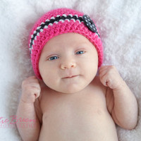 0-3 months Cute as a Button Hot Pink Crochet Hat with Black and White Stripe with Polka Dot Button- Newborn photo prop-new baby gift