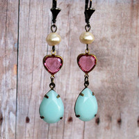 Lovey ~ Shabby Romantic Earrings - Vintage Pink Crystal Hearts - Czech Glass Pearls - Vintage Blue Lucite Stone - Maddie Jean Vintage