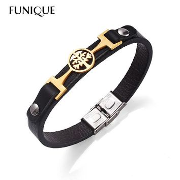 FUNIQUE Punk Rock Men Stainless Steel Jewelry Tree life Charm Leather Mens Bracelet 2018 New Brand Jewelry Accessories