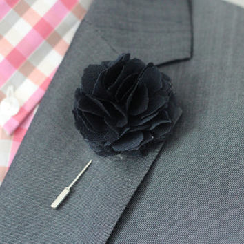 Navy blue Carnation flover, cotton, Linen Flower pin, mens boutonniere, mens lapel pin, wedding boutonniere