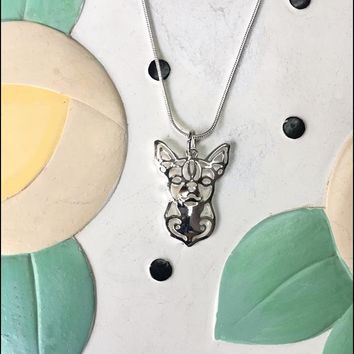 Chihuahua Metal Charm Necklace