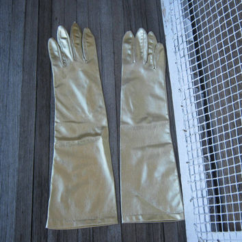 Blingy Vintage Long Gold Gloves; XS-Small - Vintage Gold Opera Gloves - Retro Gold Burlesque Gloves - Gold Gauntlet Clubs - Club Gloves