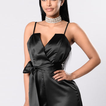 Too Slick Romper - Black