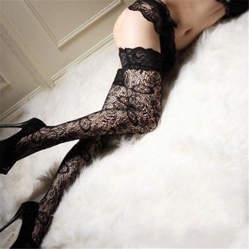 PEAPON Women Lady Black Leggings Trendy Sexy Sheer Lace Thigh High Leggings