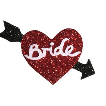 Red Glitter Bride Heart and Arrow Hair Clip and Brooch