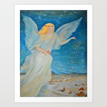 Bless me | Guardian Angels are Here | Angel of Abundance | Love Art Print by Azima