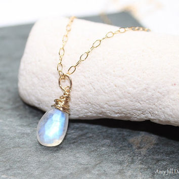 Moonstone Necklace, Gold Filled, Moonstone Wire Wrap Pendant, Blue Flash, Moonstone Jewelry, Gemstone Jewelry
